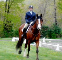CJ and her Clyde Cross showing dressage