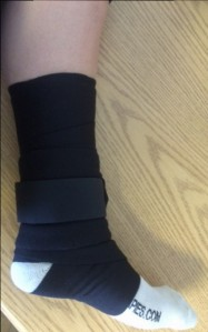 Ankle with Sock and Body Wrap (excuse my white leg!)